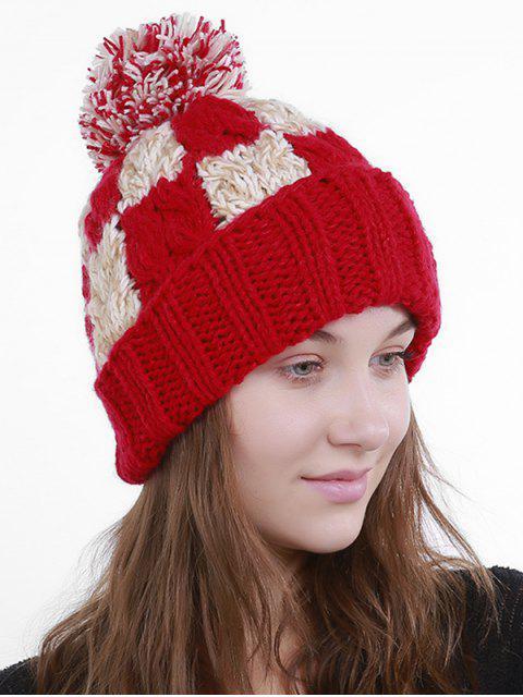 Color Block Crochet Knit Plaid Pom Hat - Rouge  Mobile