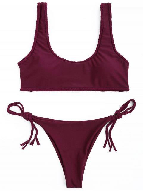 shops Braided Trim Scoop Bikini Set - WINE RED M Mobile