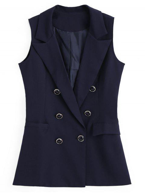 trendy Double-breasted Asymmetrical Pockets Waistcoat - PURPLISH BLUE M Mobile