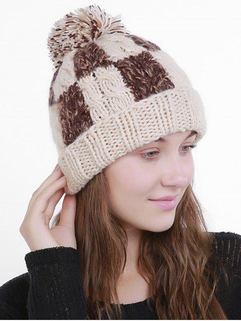 Bloque de color Crochet Knit Plaid Pom Hat - Beis  Mobile