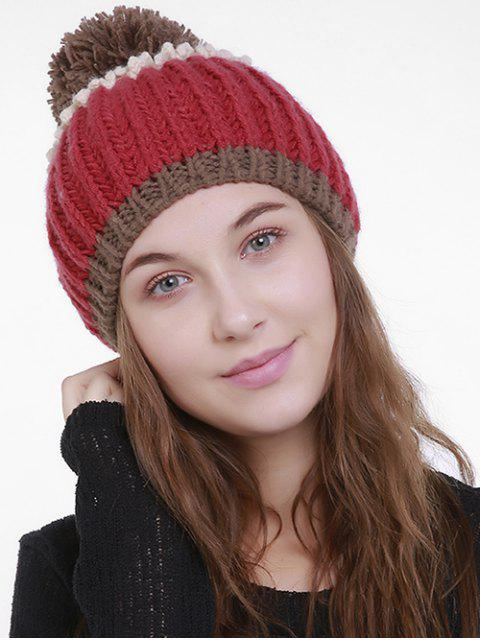 lady Color Block Flanging Pom Knitting Beanie - RED  Mobile