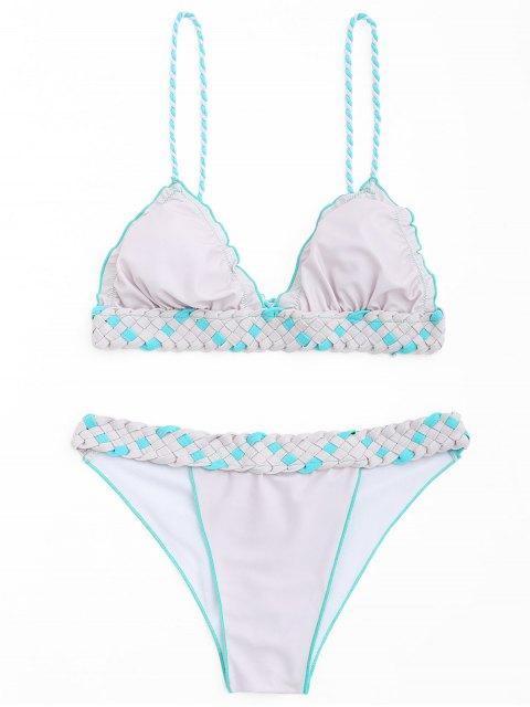 unique Frilled Macrame Scrunch Butt Bikini Set - PINK + GREY M Mobile