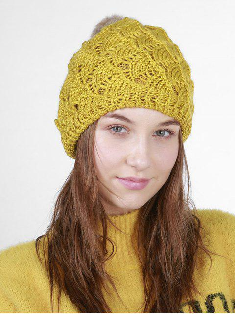 Fan forma de ganchillo Knit Pom Hat - Mostaza  Mobile