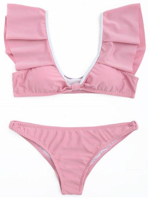 women's Ruffle Scoop Bikini Set - DEEP PINK L Mobile