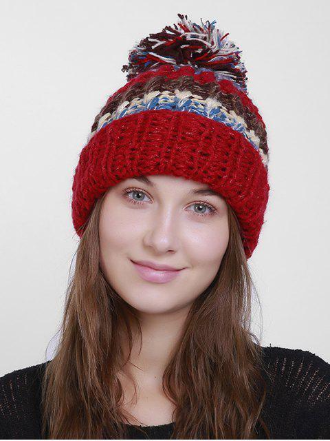 trendy Color Block Flanging Crochet Knit Pom Hat - RED  Mobile