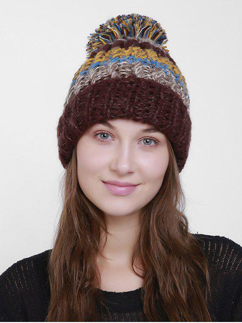 Bloque de color Flanger Crochet Knit Pom Hat - Café  Mobile