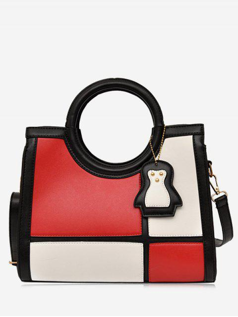 fashion Color Block Pendant Totes With Strap - RED  Mobile