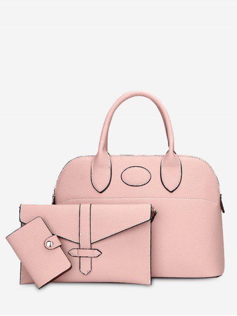 ladies Stitching 3 Pieces Faux Leather Handbag Set -   Mobile