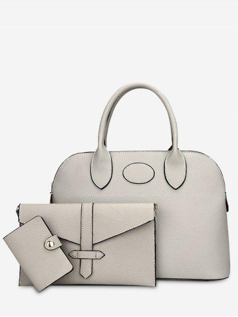 outfit Stitching 3 Pieces Faux Leather Handbag Set - GRAY  Mobile