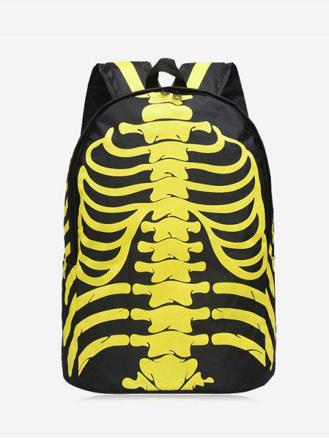 trendy Skull Noctilucence Striped Backpack - YELLOW  Mobile