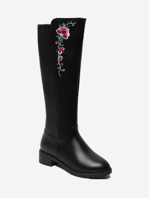 shop Flower Embroidery Low Heel Mid Calf Boots - BLACK 40 Mobile