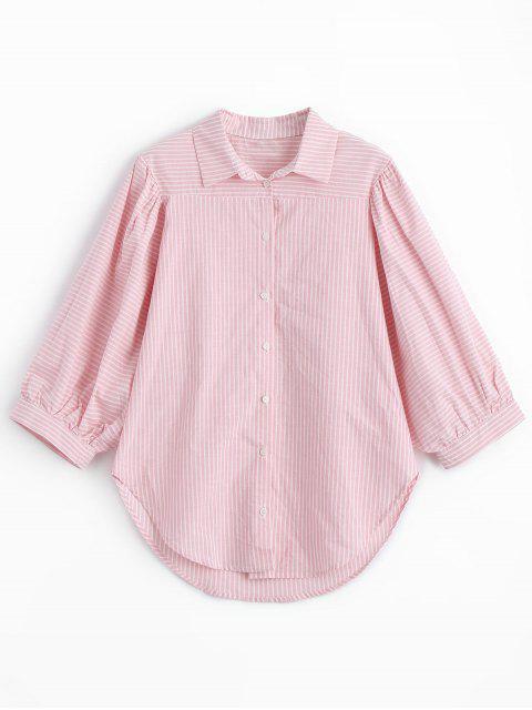 Chemise à Rayures et Manches Trois Quart - ROSE PÂLE M Mobile