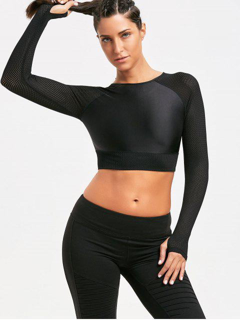 outfits Mesh Insert Long Sleeve Crop Tee shirt - BLACK M Mobile