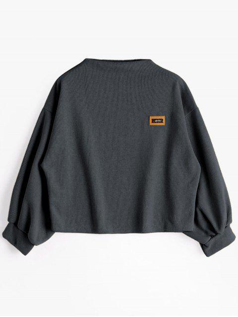 Sweat-shirt à Badge Patché Manches Lanternes - gris foncé Taille Unique Mobile
