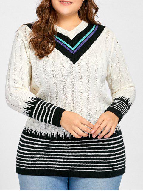 best Plus Size V Neck Striped Long Sweater - WHITE ONE SIZE Mobile
