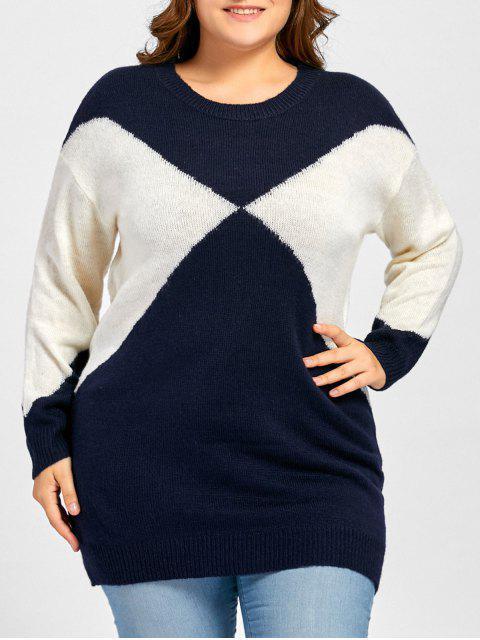 Plus Size Two Tone Drop Schulter Pullover - Purpurweiß + Weiß Eine Größe Mobile