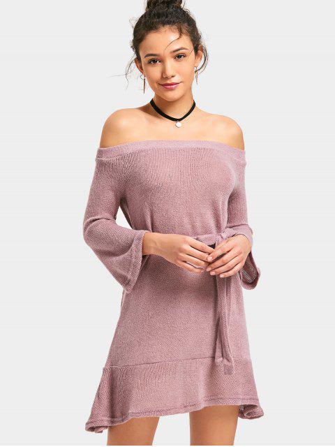 Mini Robe en Maille Ceinturée à Épaules Dénudées - Pourpre Rosé S Mobile