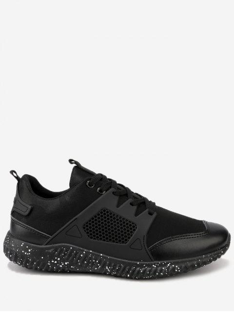 online Breathable Geometric Lace Up Sneakers - BLACK 44 Mobile