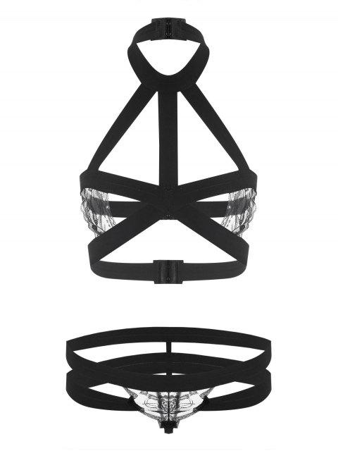 latest Caged Strappy Bralette Set - BLACK ONE SIZE Mobile
