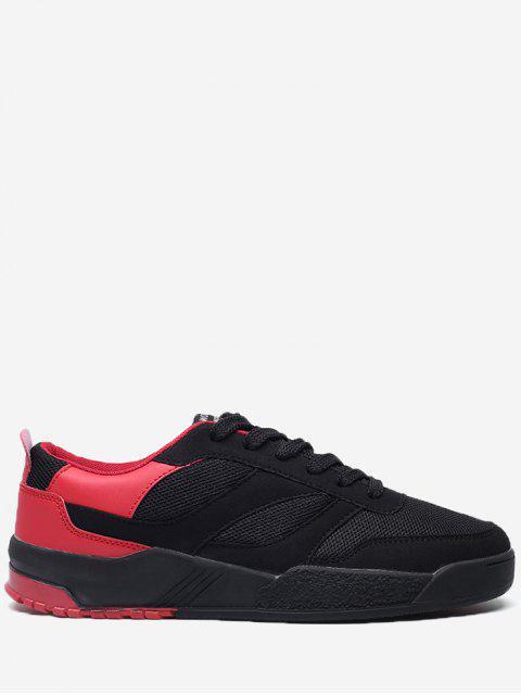 Kontrastfarben Mesh Breathable Skate Schuhe - Rot & Schwarz 42 Mobile
