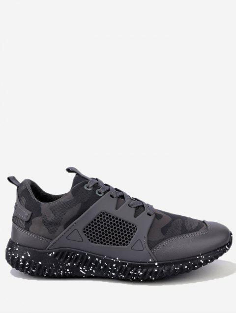 trendy Breathable Geometric Lace Up Sneakers - GRAY 43 Mobile