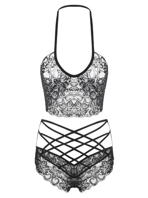 shop Lace Halter Strappy Bralette Set - BLACK ONE SIZE Mobile