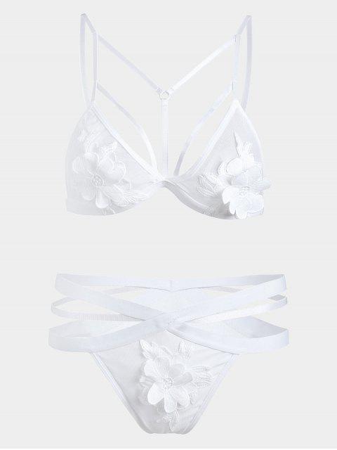 Ensemble Soutien-gorge et Culotte Applique en Tulle - Blanc S Mobile