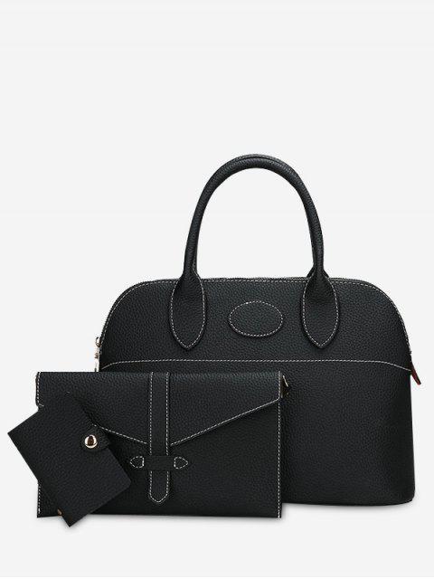 Ensemble Sac à Main Couture en Faux Cuir 3 Pièces - Noir  Mobile