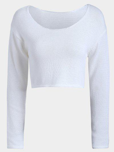 Casual Pullover Cropped Sweater - White
