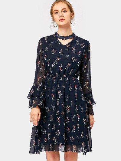 Tiered Flare Sleeve Floral Print Keyhole Dress - Purplish Blue 2xl