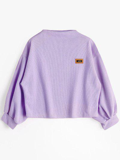 Badge Patched Lantern Sleeve Sweatshirt - Light Purple