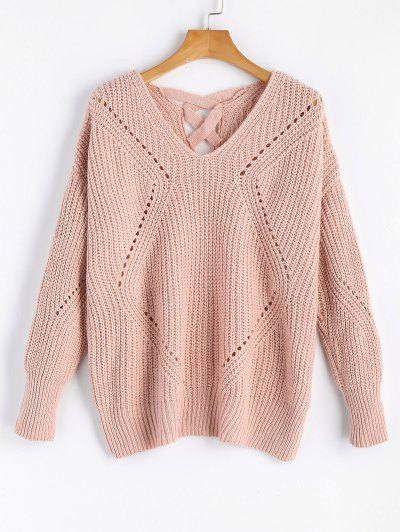 Zaful Sheer Criss Cross V Neck Sweater