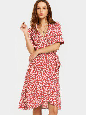 Slit Beach Printed Wrap Dress - Red M