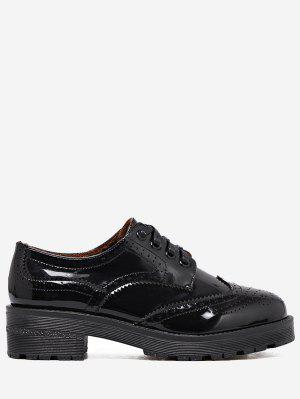 Wingtip Contraste Color Brogues Zapatos Planos - Negro 34