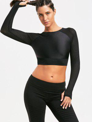 Mesh Insert Long Sleeve Crop Tee shirt