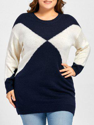 Plus Size Two Tone Drop Shoulder Sweater