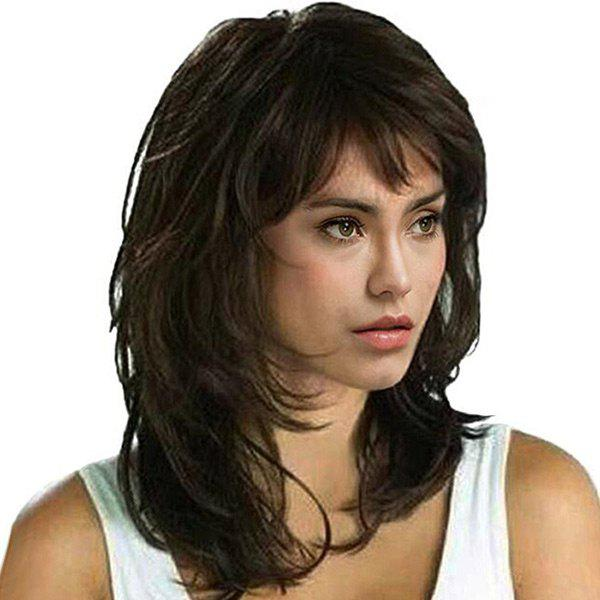 Medium Side Fringe Shaggy Natural Straight Synthetic Wig 227228901