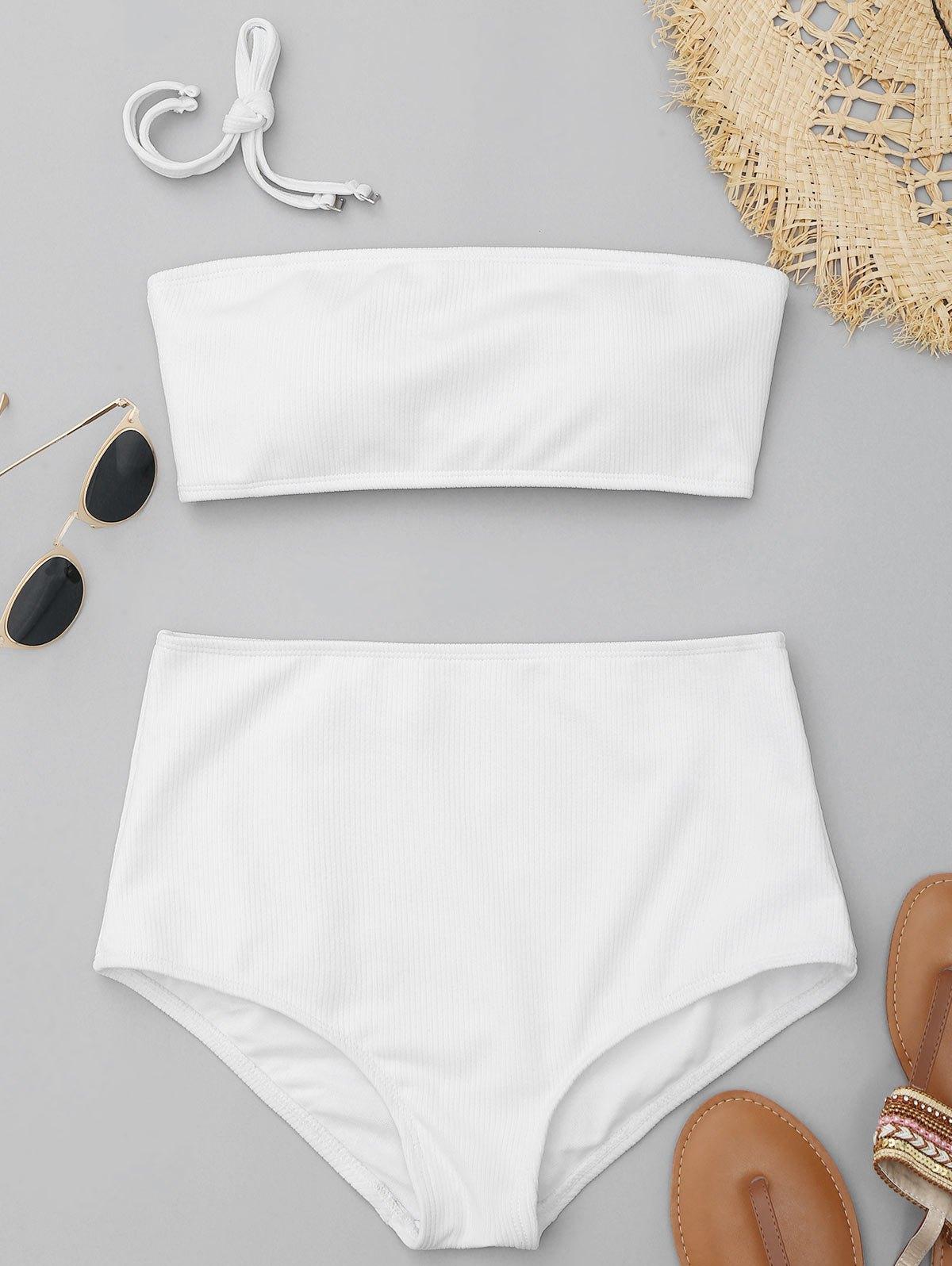 Ribbed Texture Bandeau High Waisted Bikini 223476509