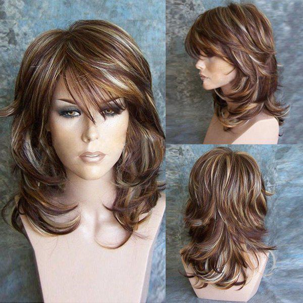 Medium Side Bang Highlighted Layered Slightly Curled Synthetic Wig 228557601