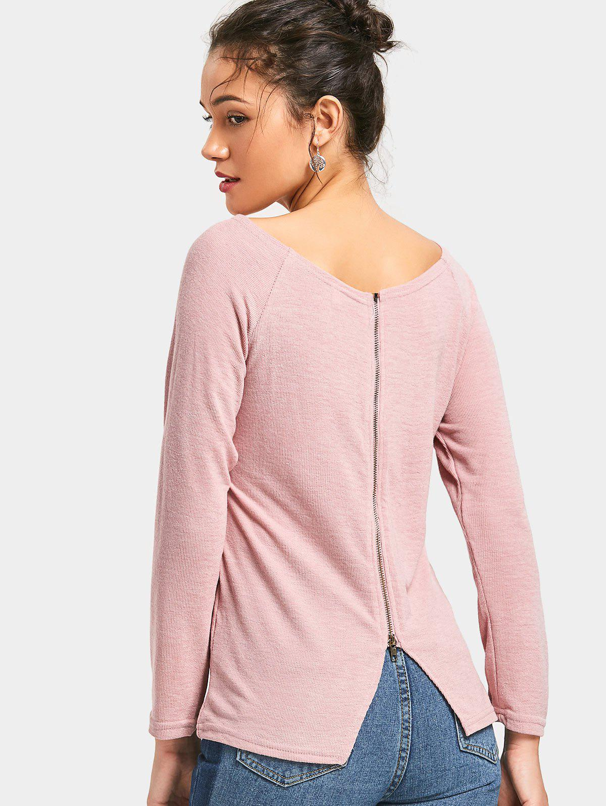 Boat Neck Back Zipper Knitted Top 228689902