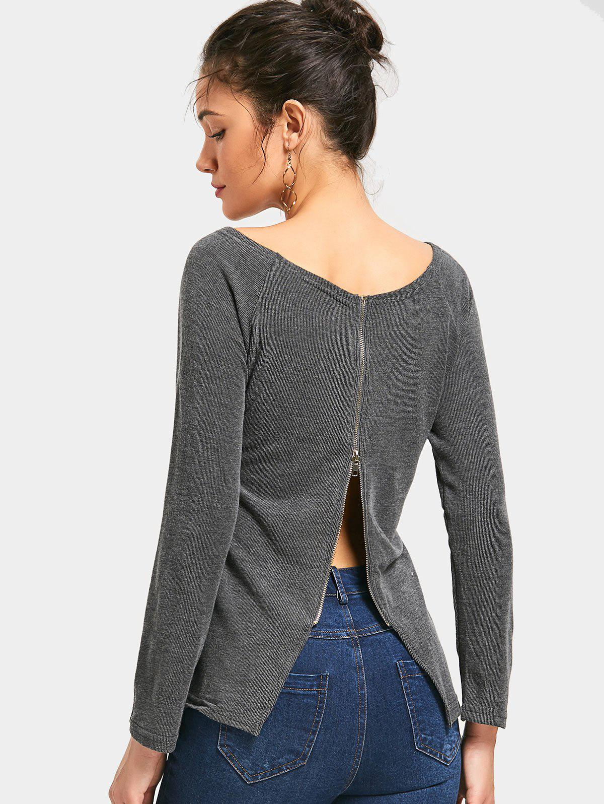 Boat Neck Back Zipper Knitted Top 228689905