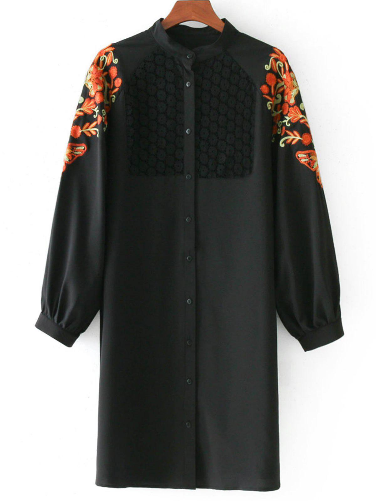 Blumige Patches Longline Bluse