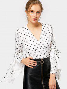 Plulnging Cuello Flare Sleeve Star Blusa - Blanco S