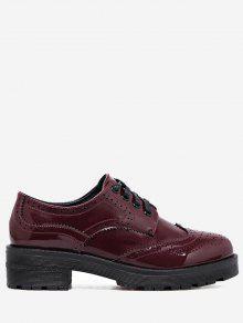 Wingtip Contraste Color Brogues Zapatos Planos - Vino Rojo 34