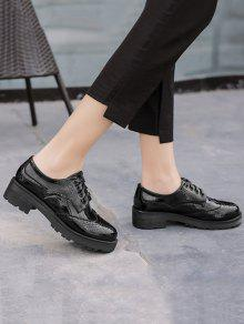 Wingtip Contrast Color Brogues Flat Shoes