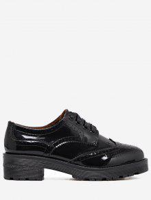 مسطح بثقوب ذو ألوان مدمجة Wingtip حذاء - أسود 40