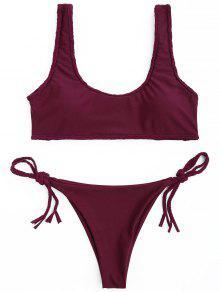Juego De Bikini Trenzado Recorte Trim - Vino Rojo M