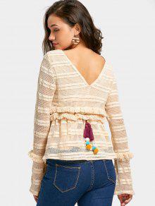 Crochet Ruffles Tassels Sheer Blusa - Palomino M
