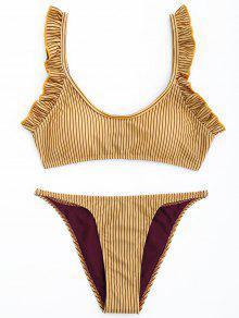 Juego De Bikini Con Franjas - Amarillo M