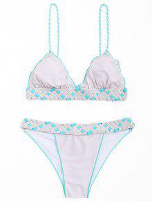 Juego De Bikini Con Flecos Para Macrame - Rosa + Gris M